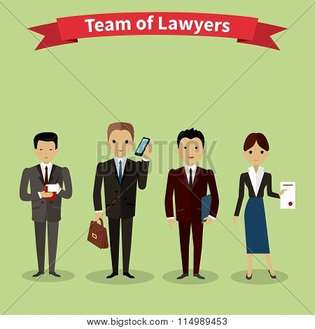 Lawyers team people group flat style. Law firm, attorney and lawyer office, legal and teamwork, work executive manager, partner authority, jurist or advocate illustration poster