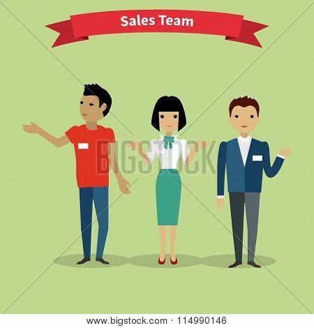 Sales Team People Group Flat Style
