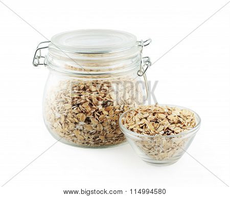 gass bowl full of oat flakes