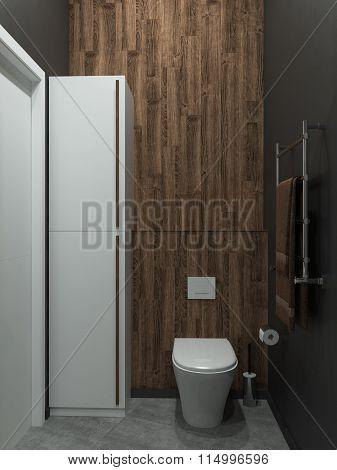 Bathroom modern loft style, 3D render