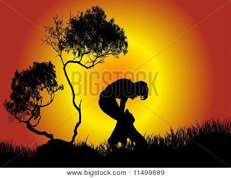 Girl play with dog in nature