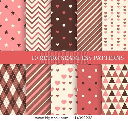 Ten Different Seamless Patterns With Hearts And Stripes.