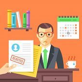 Job interview. Rejected job application with a stamp. Sad man didn't get a job. Modern flat design concept for web banners, web sites, infographic. Flat vector illustration isolated on red background poster