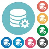 Flat database configuration icon set on round color background. poster