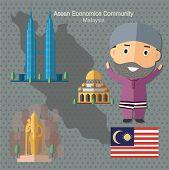 Asean Economics Community AEC Malaysia eps 10 format poster