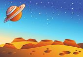 Cartoon red planet landscape with craters - vector illustration. poster