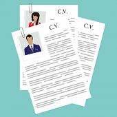 Vector illustration curriculum vitae with woman and man photo. CV on blue background. Job interview concept with cv resume poster
