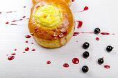 homemade baking. Cakes with jam. tasty breakfast poster
