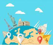 World adventure travel. Relaxation journey, leisure rest tourism, statue liberty, eiffel tower, colosseum, trip global tour. Travel, world, globe world map, around the world globe travel, world tou poster