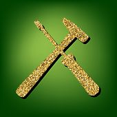 Tool illustration. Golden shiny texture on the green background poster