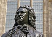 Closeup of Carl Seffner's 1908 statue of J.S. Bach in front of St. Thomas Church, Leipzig, Germany poster