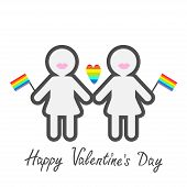 Happy Valentines Day. Love card. Gay marriage Pride symbol Two contour women with lips and flags LGBT icon Rainbow heart Flat design. Vector illustration poster