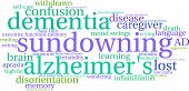 Sundowning word cloud on a white background. poster