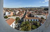 Aerial view of downtown Sucre with the cathedral from Felipe Neri monastery Bolivia poster