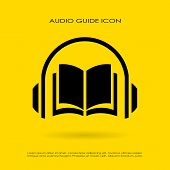 Audio guide icon isolated on yellow background poster