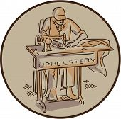 Drawing sketch style illustration of a tailor machinist upholsterer sewing with sewing machine facing front set inside circle on isolated background. poster