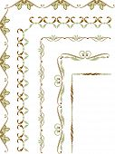 Set of 5 corner elements for frames in floral style poster