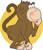 cartoon monkey scratching his chin on orange circle poster