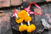 Fresh Flower Garlands in a Temple for Worship, Offering fresh flowers to worship God poster