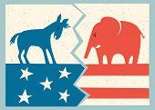 democrat donkey versus republican elephant political illustration poster