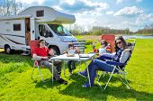 Family vacation, RV (camper) travel with kids, happy parents with children on holiday trip in motorhome poster
