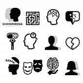 Mental disorder - schizophrenia black icons set isolated on white poster