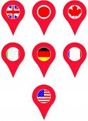 Pin location country G7. America and italy, united states and germany, france and japan and canada. Vector art abstract unusual fashion illustration poster