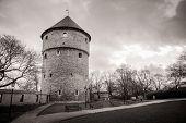 Medieval tower in old Tallinn city, Estonia. Retro sepia colors poster