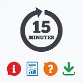 Every 15 minutes sign icon. Full rotation arrow symbol. Information think bubble, question mark, download and report. poster