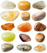 natural mineral gem stone - set from 15 pcs yellow and brown gemstones isolated on white background poster