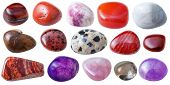 natural mineral gem stone - set from 15 pcs red pink violet and brown gemstones isolated on white background poster