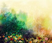 Abstract wildflowers watercolor painting flower in meadows. Hand paint White Yellow Pink Red daisy gerbera flowers on yellow green grunge color texture background. Spring flower nature background poster