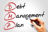 Debt Management Plan (DMP) business concept acronym poster
