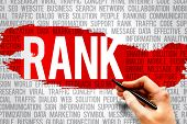 RANK word cloud business concept presentation background poster
