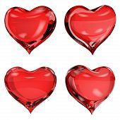Set of four opaque hearts in red colors poster