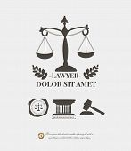 Lawyer logos set, law firm labels and emblems, justice scale, hammer, seal wax stamp poster
