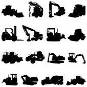 set of construction machines illustration design  vector poster