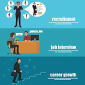 Recruitment flat banner set with recruitment, job interview and career growth. vector illustration. poster