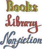 Books. Library. Non-fiction. Hand drawn words Isolated on White Background poster