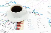 a tasty cup of coffee with the stock charts poster