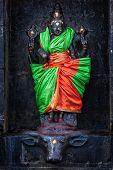 Durga (Mahisaurmardini) image. Airavatesvara Temple, Darasuram, Tamil Nadu, India. One of Great Living Chola Temples - UNESCO World Heritage Site. poster