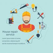 House repair service. Repairman concept construction and home repair. Handyman and icons tools. Maintenance home repairman electrician plumber carpenter painter. Isolated icons flat style. Vector poster