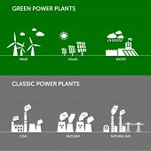 Different types of power plant illustrations. Sustainable development concept and ecology theme.  poster