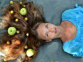 Apples, food in the hair, apples in the hair, vegetables in the hair, soft hair, fluffy hair, beautiful hair, brunette hair, natural hair, smooth hair, tasty hair, salon hair, straight hair, healthy, wellness hair poster