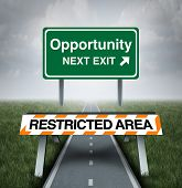Restricted opportunity concept and business road block symbol as a barrier with text barring entrance to a road with a sign for opportunities as a metaphor for discrimination or unfair limited corporate world. poster
