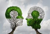 Perfect business partnership as a connecting puzzle shaped as two trees in the form of human heads connecting together to complete each other as a corporate success metaphor for cooperation and agreement as equal partners. poster