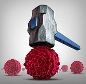 Crush cancer concept as a heavy sledgehammer or hammer crushing and smashinga cancerous cell as a health care medical symbol for a research or pharmaceutical cure to fight the dangerous disease with life saving treatments. poster