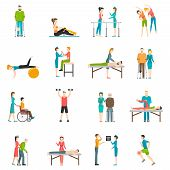 Physiotherapy rehabilitation flat color icons with doctor nurse and patients involved in physical exercises massage and chiropractic isolated vector illustration poster