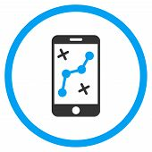 Smartphone Navigator vector icon. Style is bicolor flat circled symbol, blue and gray colors, rounded angles, white background. poster
