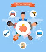 Sharing economy and smart consumption concept. Vector illustration in flat style. People save money and share resources. poster